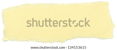 Texture of cream yellow fiber paper with torn edges. Isolated on white background. - stock photo