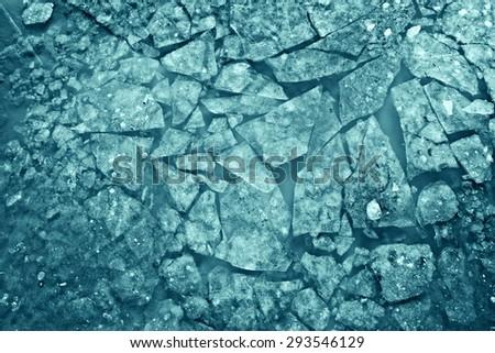 texture of crushed ice crack ice drift - stock photo