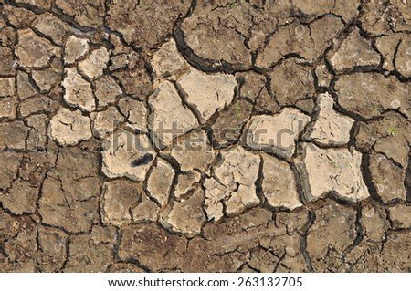 Texture of dry soil in river. - stock photo