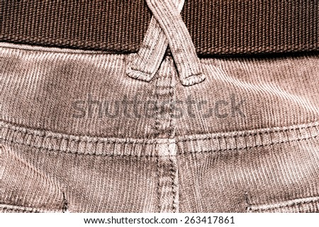 texture of fabric material - corduroy from men���´s pants - stock photo