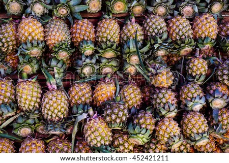 Texture of famous pineapple in northern Thailand - stock photo