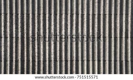 Texture Of Fiber Cement Roof Sheet, Vertical Lines Pattern Of Weathered The  Old Roof,