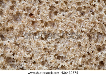 Texture of fresh rye bread, incision, close up - stock photo