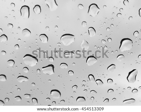 Texture of glass with natural rain drops