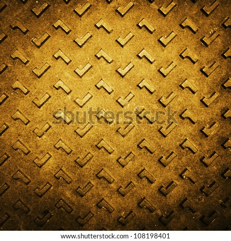 Texture of Gold Grunge Rusty Steel Floor Plate for Background - stock photo