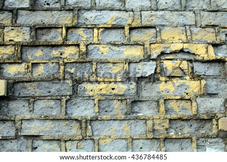 Texture of gray bricks. Destroyed wall. The old bricks. Brickwork. Texture for the game. Decor. Grey white brick wall texture background. Dirty old ruined brick wall. - stock photo