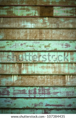 Texture of Green Old Cracked wood Plank wall - stock photo