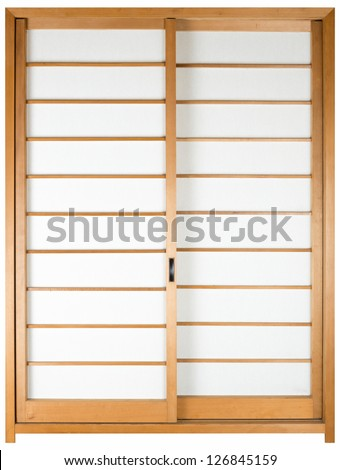 texture of Japanese sliding paper door Shoji - stock photo