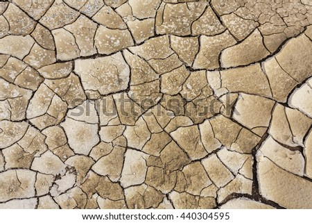 Texture of land dried up by drought, the ground cracks background with vintage tone  - stock photo