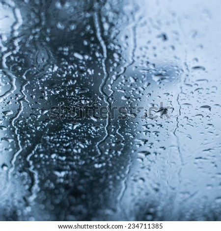 Texture of natural water drops on glass - stock photo