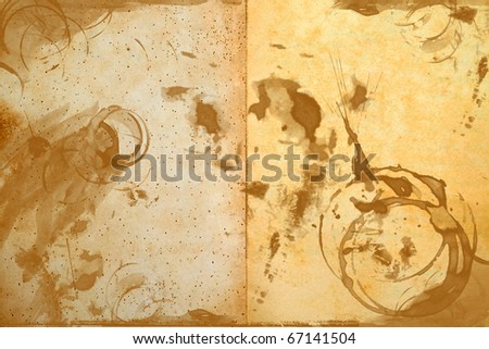texture of old blank paper notebook with stained of coffee - stock photo