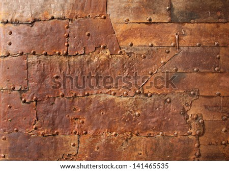 Texture of old metal with rivets - stock photo