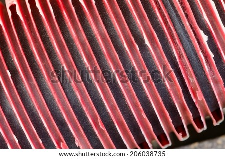 Texture of old plastic red pipe construction. - stock photo