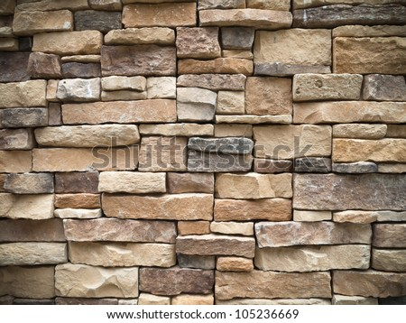 Texture of old Rectangle stone wall for background - stock photo