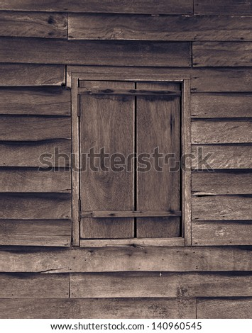 Texture of old wood wall and windows . - stock photo