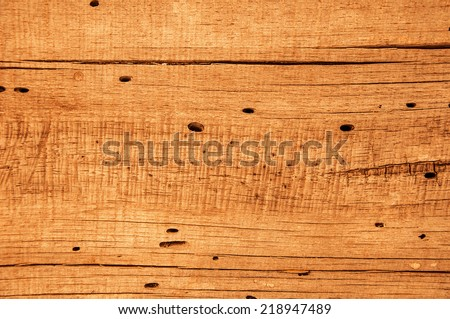 Texture of old wood with wormholes and cracks - stock photo