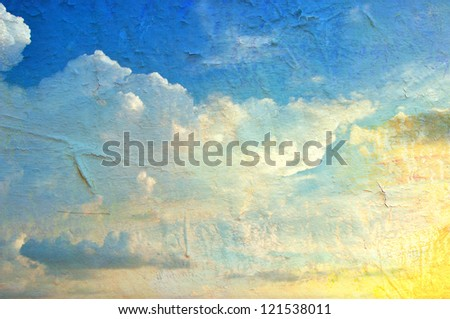 Texture of painted wall, Sky background - stock photo