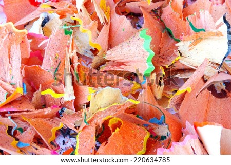 texture of pencil remnants after working with the penknife at school - stock photo