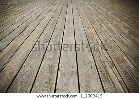 Texture of perspective Old wood floor - stock photo