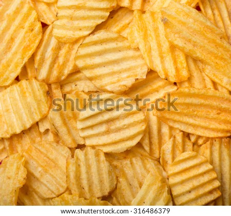 Texture of potato chips close-up.