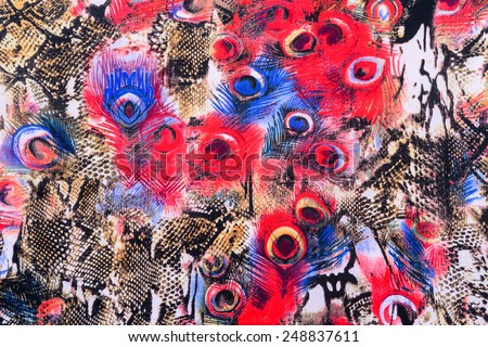 texture of print fabric striped peacock for background - stock photo