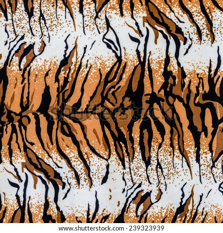 texture of print fabric striped tiger leather for background - stock photo