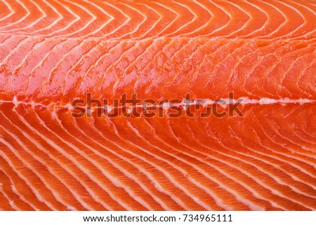 Texture of raw Norwegian salmon. Macro shooting