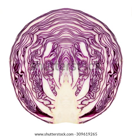 Texture of red cabbage cut in half and made symmetric - stock photo