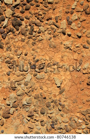 Texture of red dirt soil field - stock photo