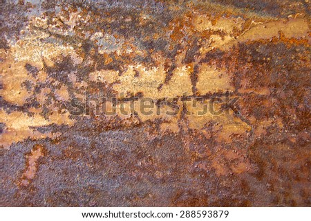 Texture of rusty iron. Background and texture of rusty on iron with vintage color and vintage style. Texture of rusty with drip on steel wall background - stock photo