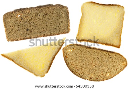 Texture of  rye and white bread. Isolated on white.