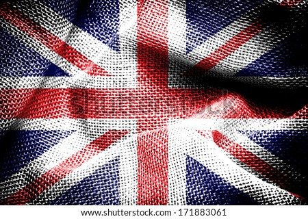 Texture of sackcloth with the image of the Union Jack.