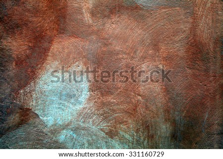 texture of shabby paint and brown plaster stucco background - stock photo