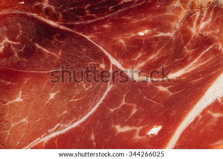 texture of spanish ham - iberico bellota jamon - stock photo