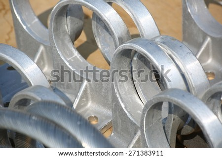 Texture of steel hardware for fitting electrical cable with steel tower