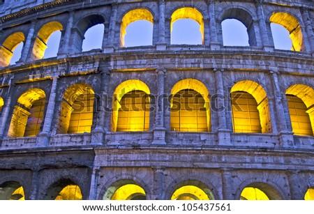 Texture of the Colosseum, Rome, Lazio, Italy - stock photo
