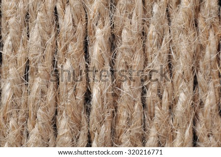 texture of the linen rope-wound - stock photo