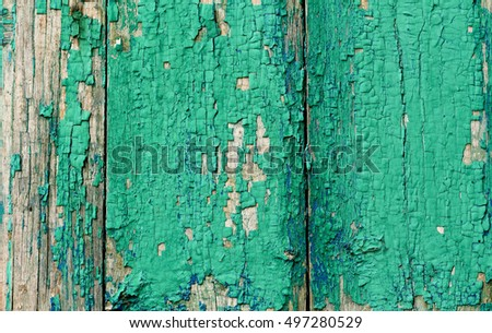texture of the old painted green boards, horizontal