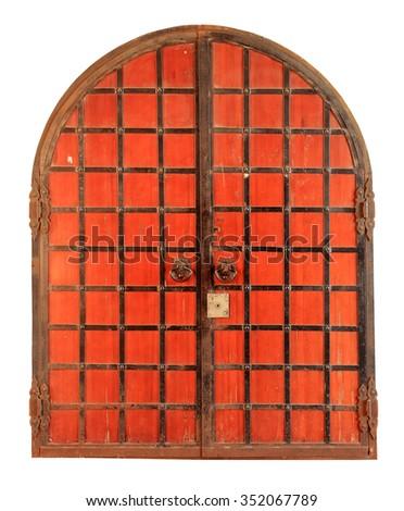 Texture of the old red metal door Kremlin, Kazan, Tatarstan, Russia. - stock photo