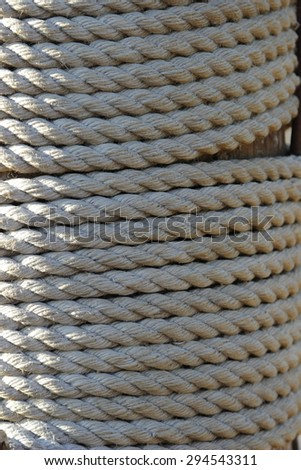 texture of the old rope ship - stock photo