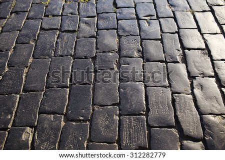 texture of the stone pavement - stock photo