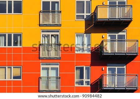 Texture of the yellow and red building