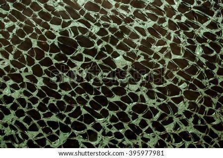 texture of transparent green broken glass horizontal photo - stock photo