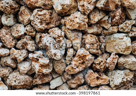 Texture of wall made of the Jerusalem stones. Old wall made of the rough stone.  - stock photo