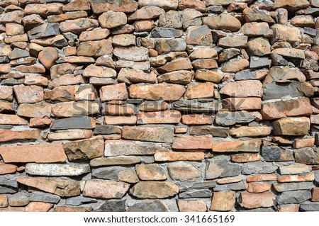 Texture of wall of natural rough brown stones