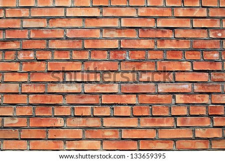 Texture of wall red bricks - stock photo