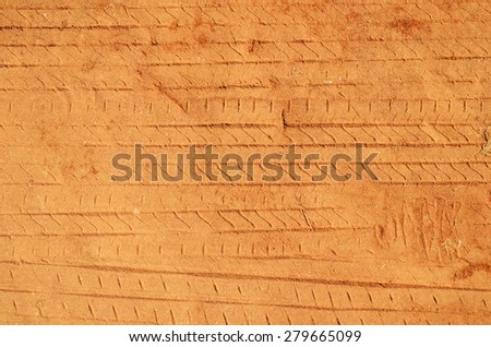 Texture of wheel track on the soil, Traces - stock photo
