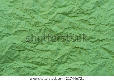 texture of wrinkled green paper for background - stock photo