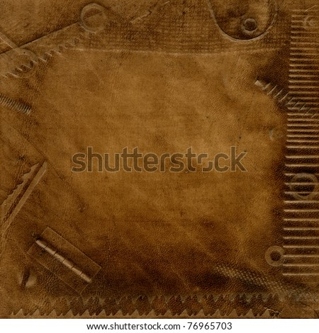 Texture old brown leather - stock photo