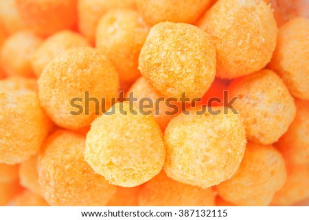 Texture/Pattern of Cheese Balls, Selective focus, food background